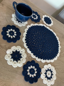 Used Blue and white crochet coasters  in Dubai, UAE