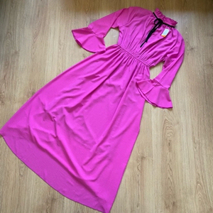 Used Fuchsia long sleeve maxi dress (new) in Dubai, UAE