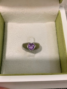 Used Real 925 silver ring 💜 amethyst size 16 in Dubai, UAE