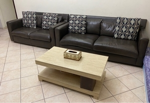 Used Pan Emirates Brown Leather Sofa 3+2 in Dubai, UAE
