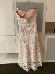 Used BEBE white and beige lace cocktail dress in Dubai, UAE