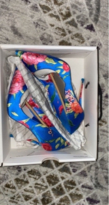 Used Aldo heels blue flower print 36EU in Dubai, UAE