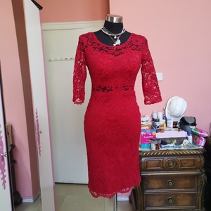 Used Red long sleeves party dress in Dubai, UAE