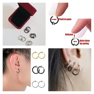 Used Retractable Hoop Earrings Unisex 4 Pairs in Dubai, UAE