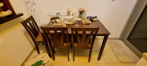 Used Dining table with bench and 3 chairs in Dubai, UAE
