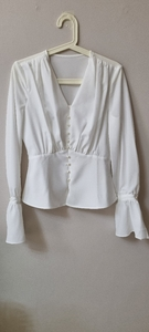 Used Peplum white shirt with pearl buttons in Dubai, UAE