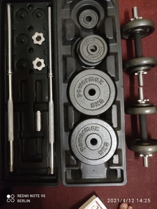Used 50 kg dumbell barbell set  1 month old in Dubai, UAE