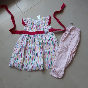 Used Babygirl frock and pants bottom 2pc in Dubai, UAE