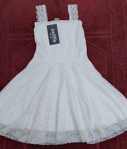 Used baby white soft net dress with pearls in Dubai, UAE