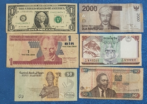 Used Stamps, coins and banknotes in Dubai, UAE