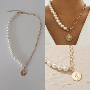 Used Pearl chain necklace with coin pendant in Dubai, UAE