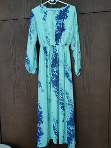 Used Long Blue Floral Dress FREE Size in Dubai, UAE
