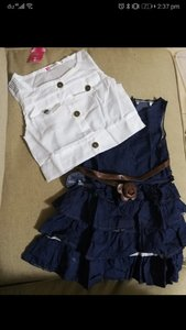 Used Cute girls denim dress & white top 4-5 y in Dubai, UAE